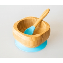eco rascals Bamboo Suction Bowl & Spoon Set-Blue (NEW)