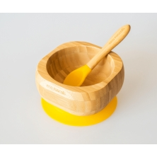 eco rascals Bamboo Suction Bowl & Spoon Set-Yellow (NEW)