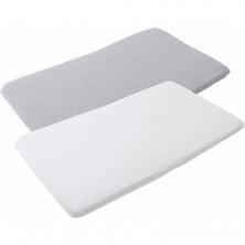 Maxi Cosi Iris Travel Cot Bedsheet 2 Pk-White & Grey