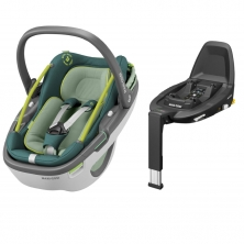 Maxi Cosi Coral i-Size Car Seat with FamilyFix3 Base-Neon Green