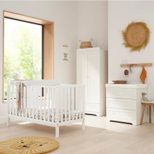 Tutti Bambini Malmo 3 Piece Room Set with Cot Top Changer-White