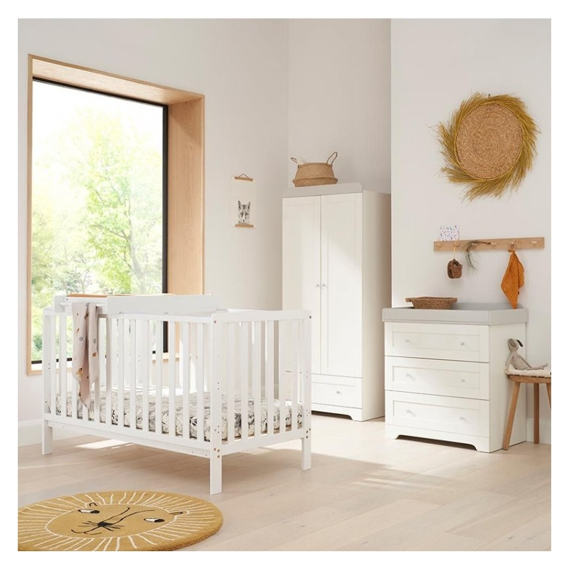Tutti Bambini Malmo 3 Piece Room Set with Cot Top Changer-White & Dove Grey