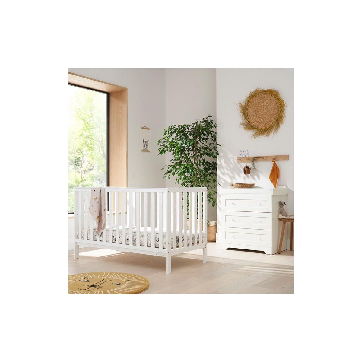 Tutti Bambini Malmo 2 Piece Room Set with Cot Top Changer-White