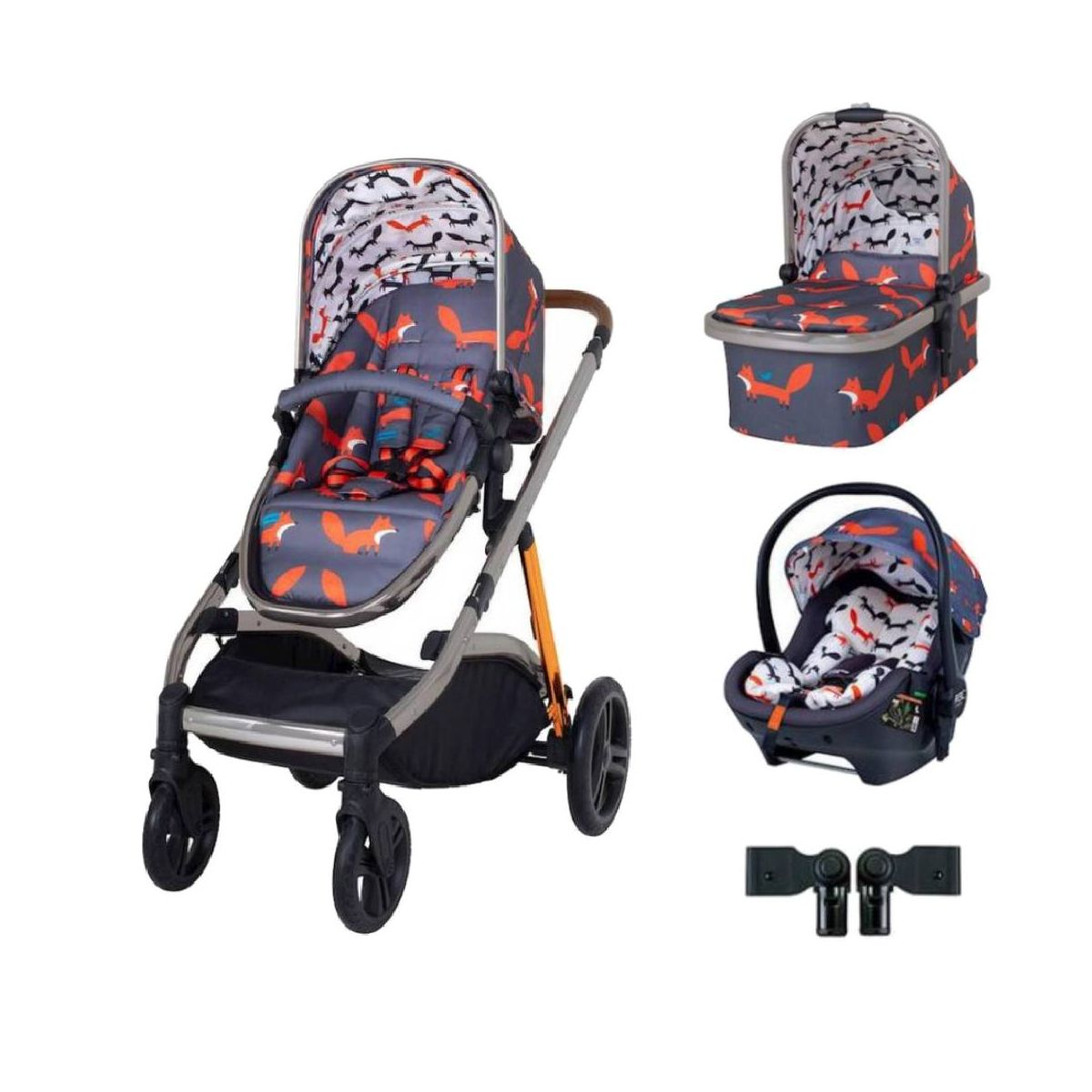 Cosatto Wow XL Premium Travel System Bundle-Charcoal Mister Fox