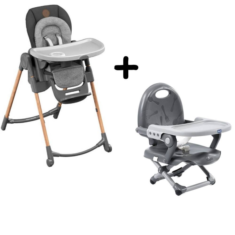 Maxi-Cosi Minla 6-in-1 Highchair With FREE Chicco Booster Seat-Essential Graphite