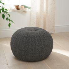 Tutti Bambini Knitted Pouffe Footstool-Charcoal/Grey