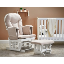 Obaby Reclining Glider Chair and Stool-White with Sand Cushions (NEW)
