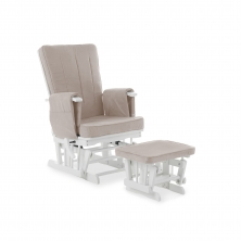 Obaby Deluxe Reclining Gilder Chair and Stool-White with Sand Cushions