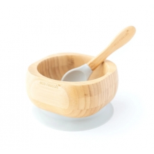 eco rascals Bamboo Suction Bowl & Spoon Set-Grey (NEW)
