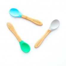 eco rascals Pack of 3 Mixed Colour Spoons-Grey,Blue,Green (NEW)