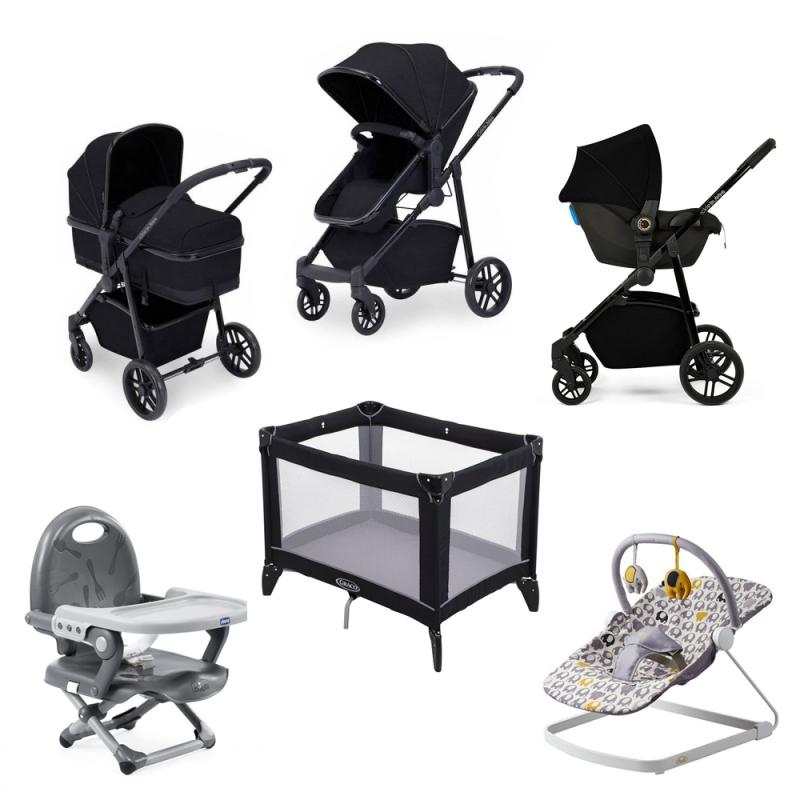 Ickle Bubba Moon 3-In-One Travel System with Astral Carseat-Black