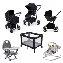 Ickle Bubba Moon 8pc Newborn Bundle with Astral Carseat-Black