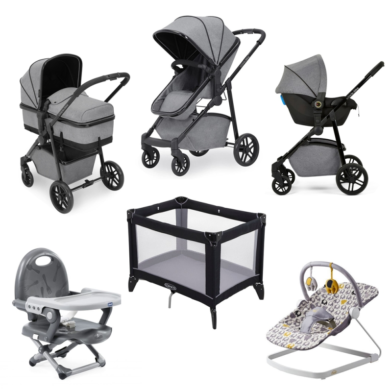 Ickle Bubba Moon 8pc Newborn Bundle with Astral Carseat-Space Grey