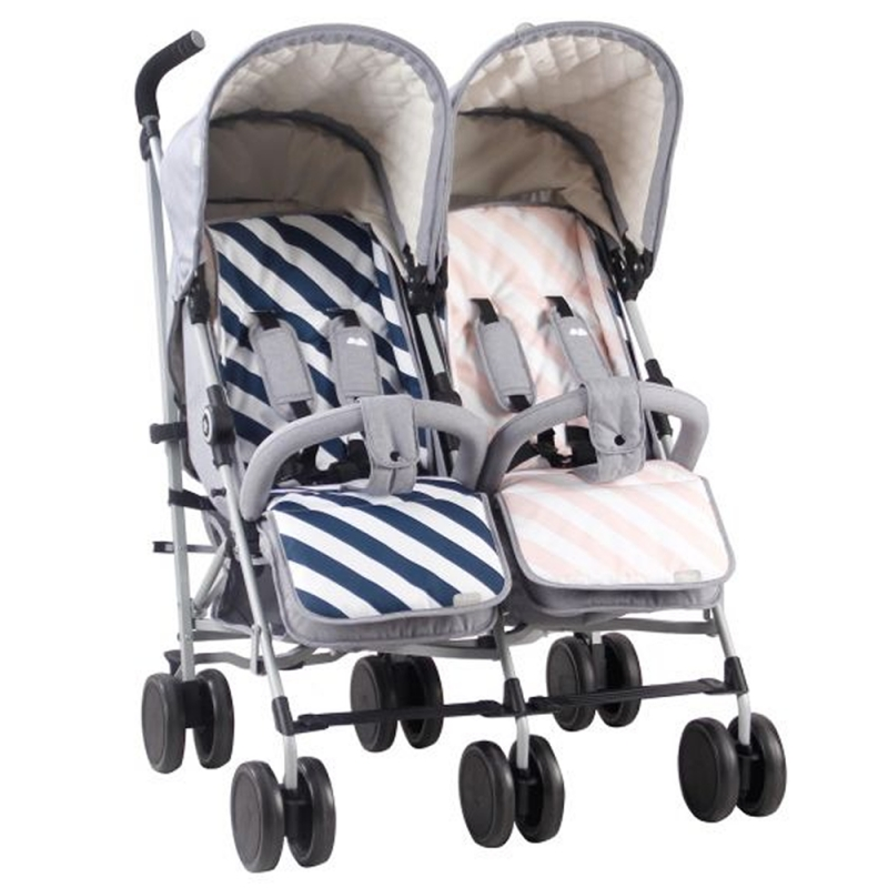 My Babiie Samantha Faiers MB22 Grey Melange Double Stroller With Reversible Seat Liners (MB22SFGM)