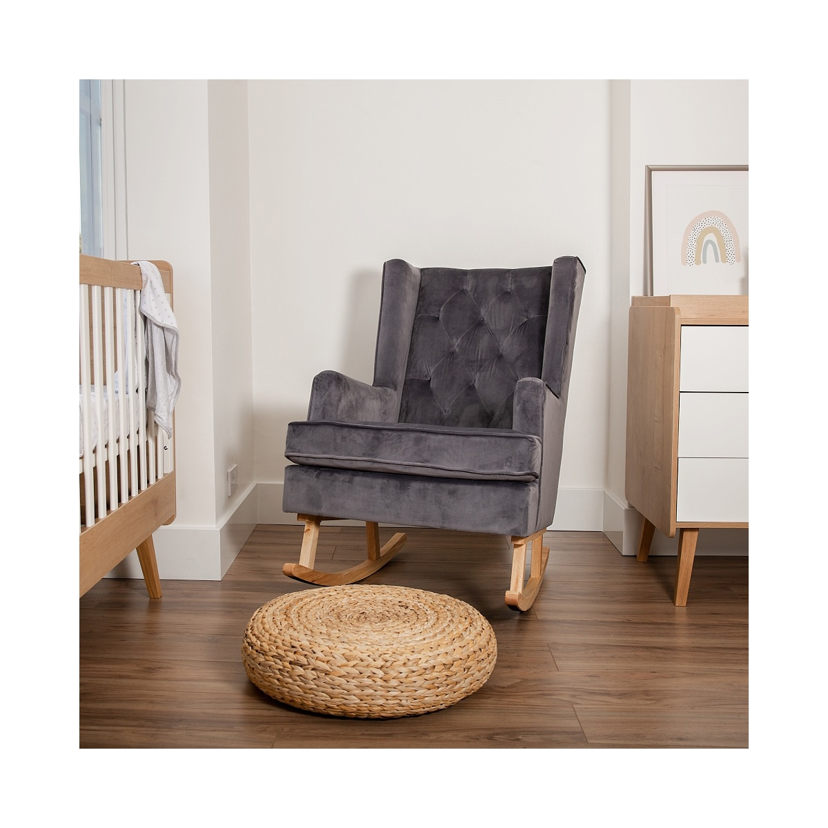 Convertible Nursing Rocking Chair-Midnight Grey/Natural Legs (NEW)