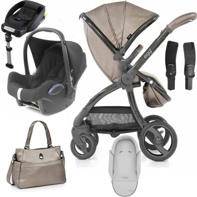 egg® Special Edition 2in1 Cabriofix Travel System With Changing Bag & Seat Liner-Titanium