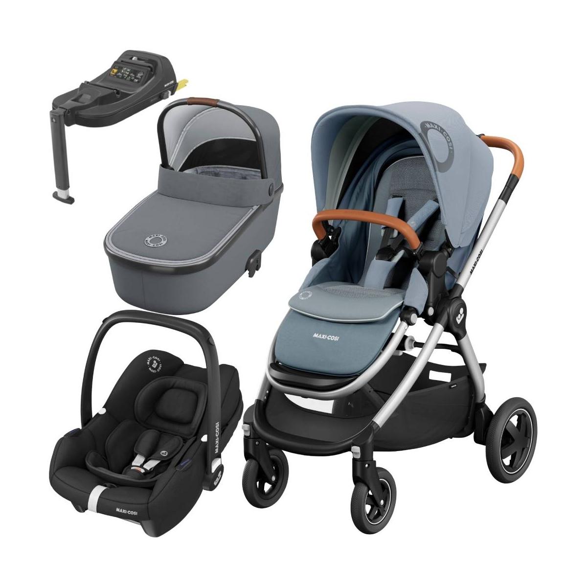 Maxi Cosi Adorra 2 With Carrycot, Tinca Car Seat & Base-Essential Grey