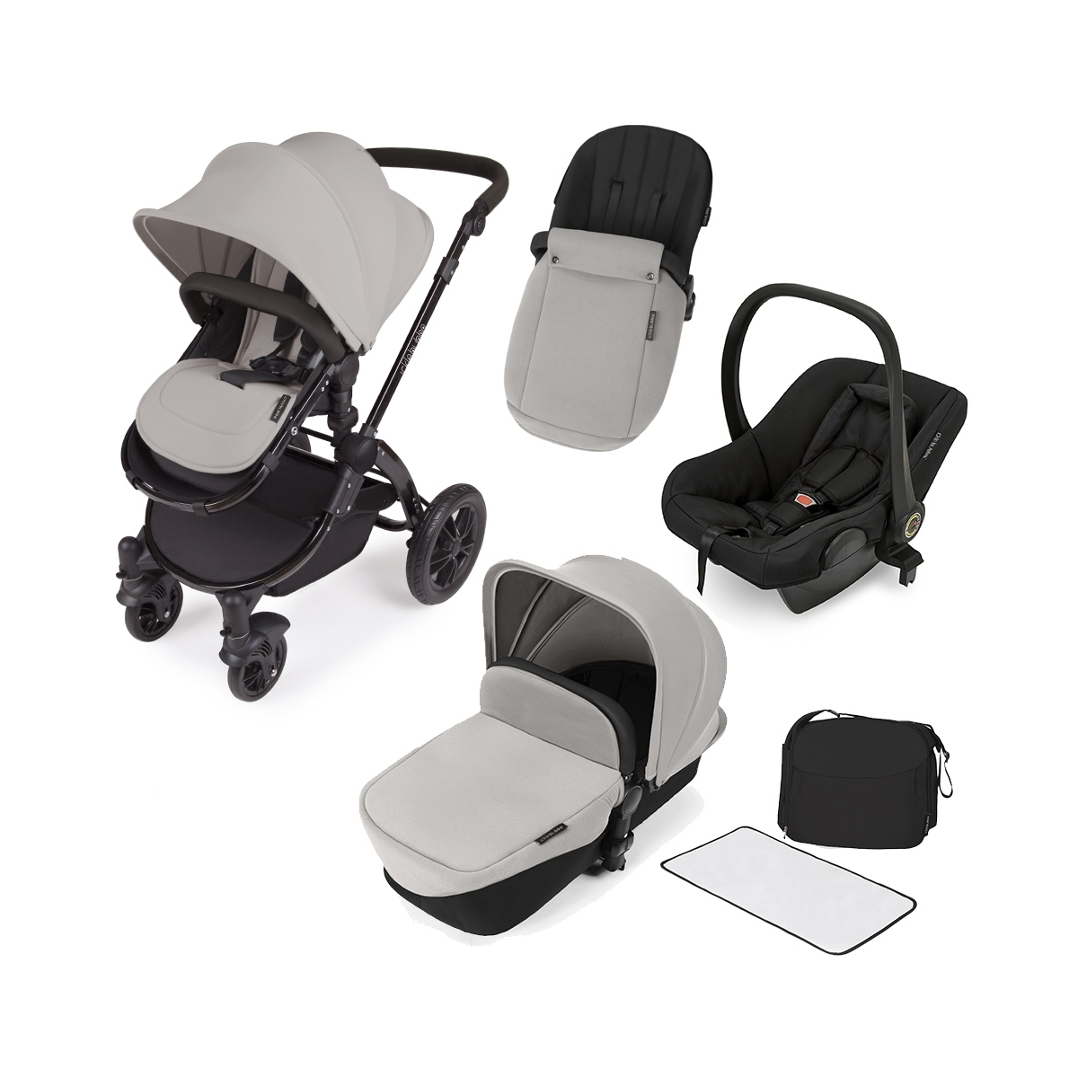 Ickle Bubba Stomp V2 Black Frame 3in1 Travel System-Silver