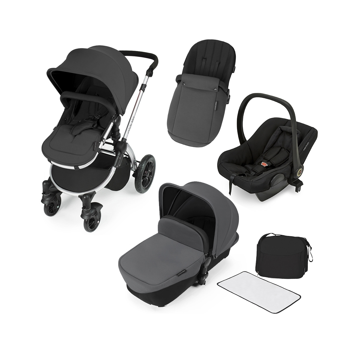 Ickle Bubba Stomp V2 Silver Frame 3in1 Travel System-Graphite Grey
