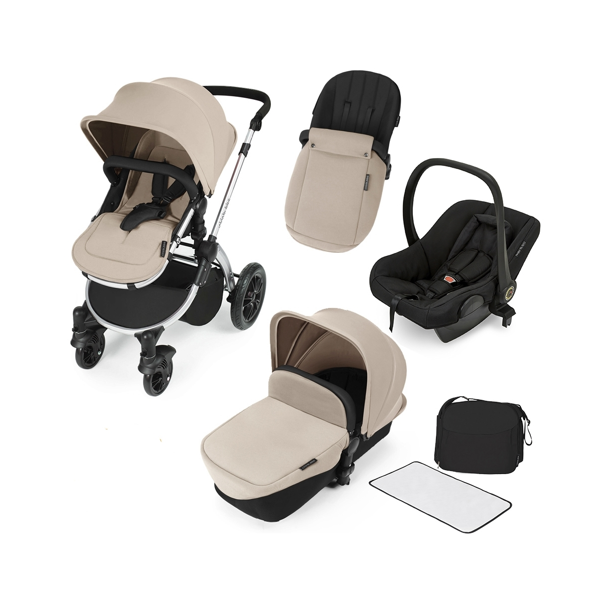 Ickle Bubba Stomp V2 Silver Frame 3in1 Travel System-Sand