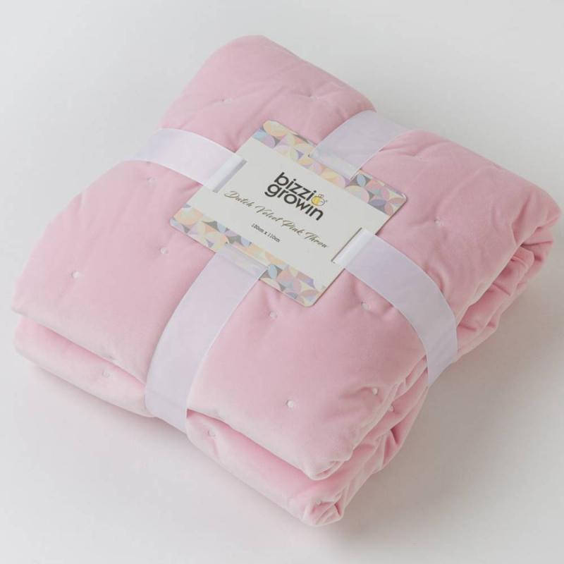 Bizzi Growin Quilted Dutch Velvet Baby Quilt-Pink