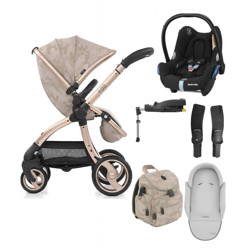 egg® Special Edition Stroller With Cabriofix Car Seat, Backpack, Newborn Insert & Easyfix Base!-Camo Sand (New 2019)