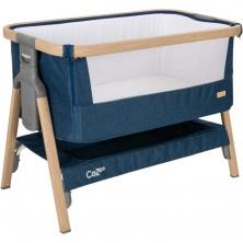 Tutti Bambini CoZee Bedside Crib-Oak/Midnight Blue