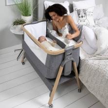 Tutti Bambini CoZee AIR Bedside Crib-Oak/Charcoal