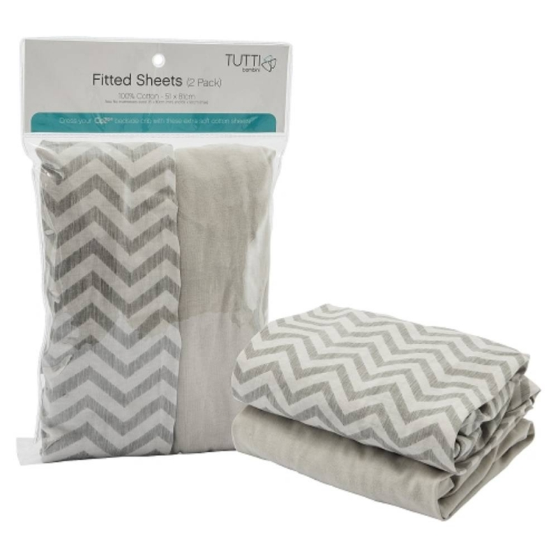 Tutti Bambini CoZee Bedside Crib Fitted Sheets 2 Pack-Chevron/Grey