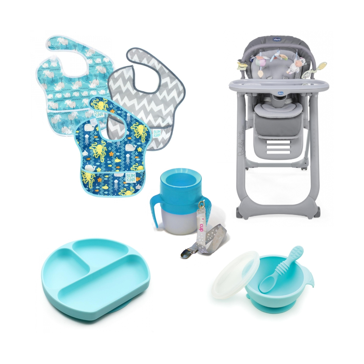 Chicco Polly Magic Relax Complete 8 Piece Mealtime Bundle-Grey/Blue