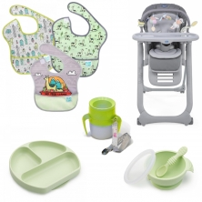 Chicco Polly Magic Relax Complete 8 Piece Mealtime Bundle-Grey/Green