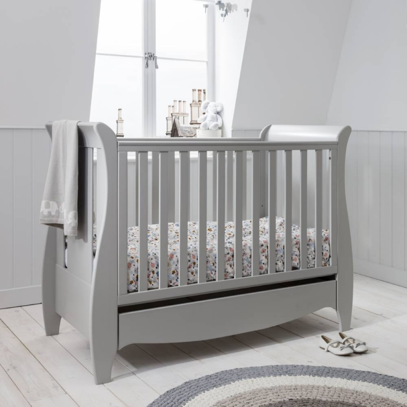 Tutti Bambini Roma Mini Sleigh Cot bed With Under Bed Drawer-Dove Grey