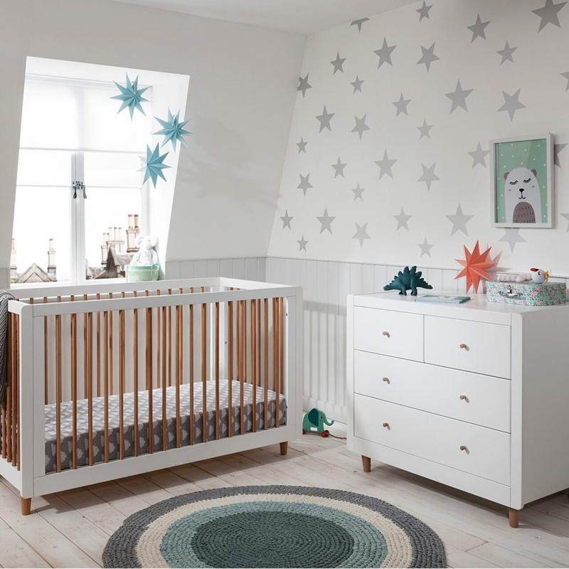 Tutti Bambini Siena 2 Piece Furniture Room Set-White/Beech