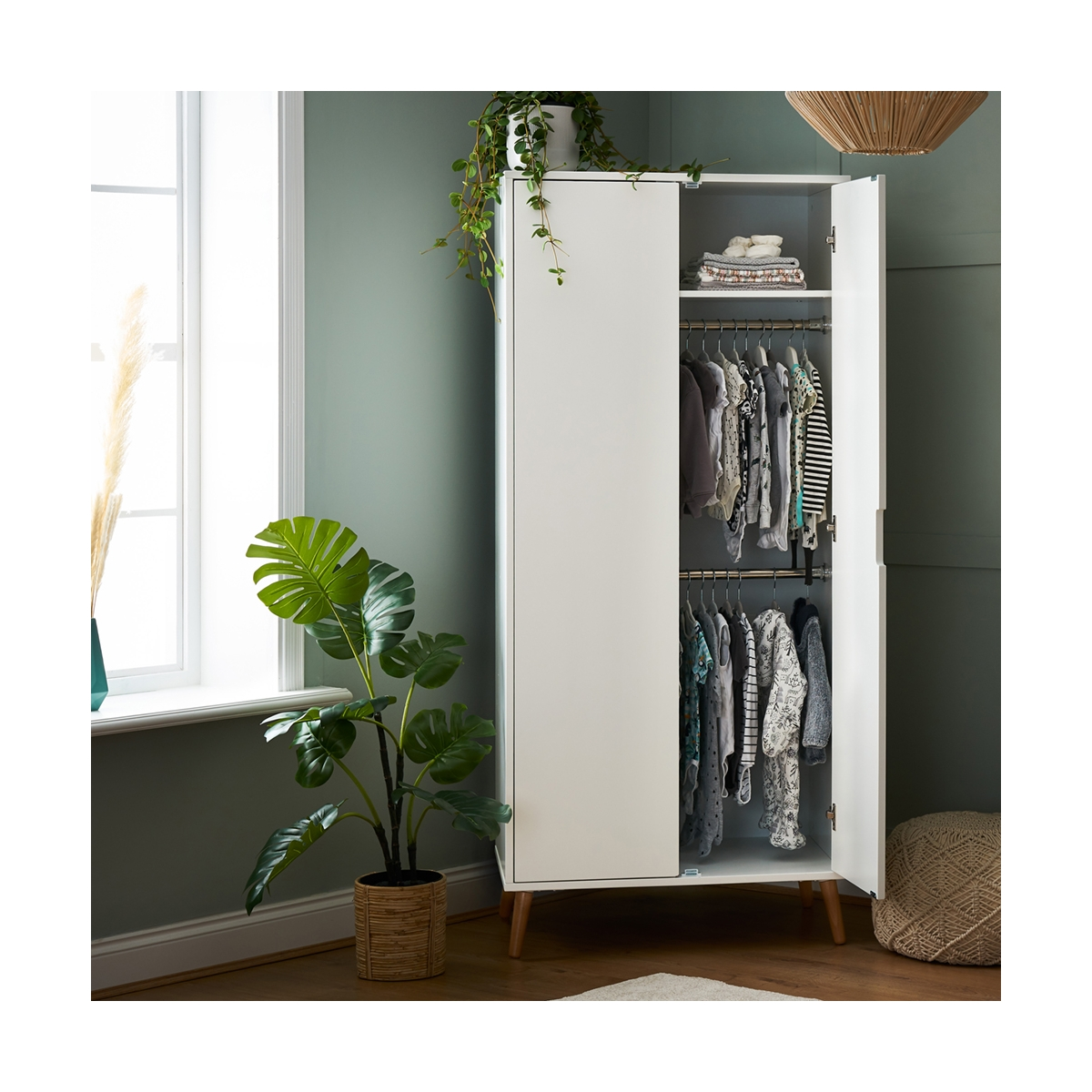 OBaby Maya Double Wardrobe-White/Natural