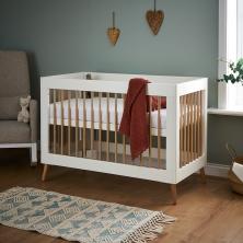 Obaby Maya Mini Cot Bed-White/Natural (NEW)