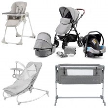 Kinderkraft Moov 12 Piece Complete Nursery Bundle-Grey