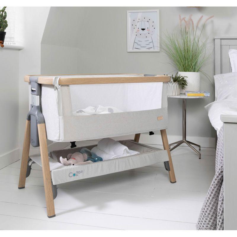 Tutti Bambini CoZee Bedside Crib-Oak/Silver