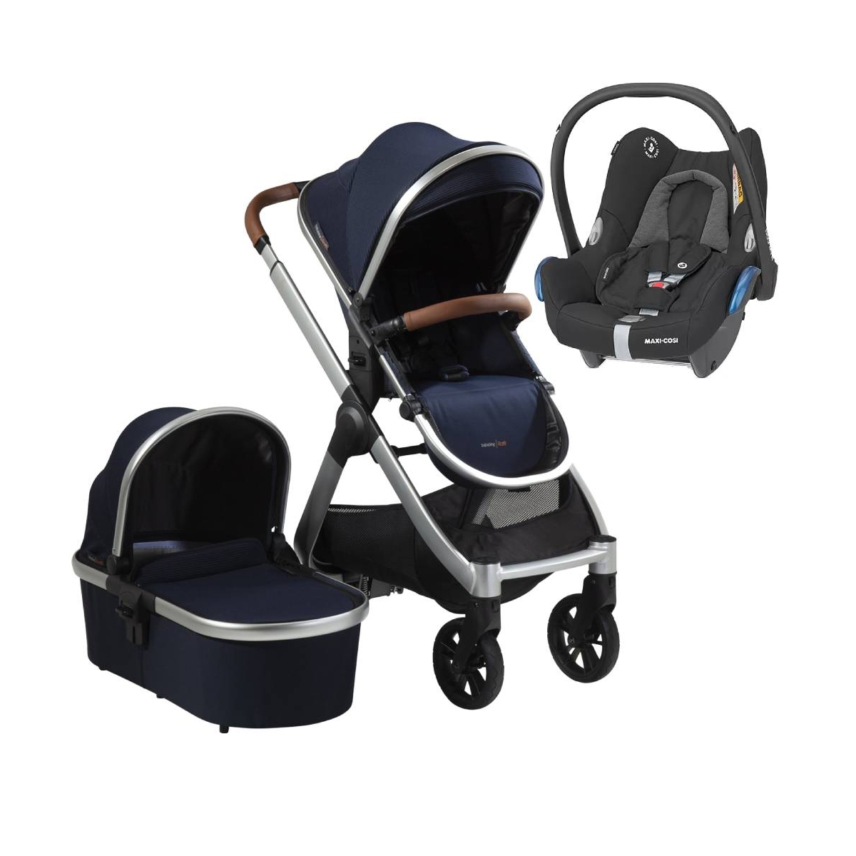 Bababing Raffi Silver Frame 3in1 Maxi Cosi Cabriofix Travel System-Navy Blue (2021)