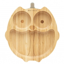 eco rascals Owl Shaped Bamboo Plate-Grey (2021)