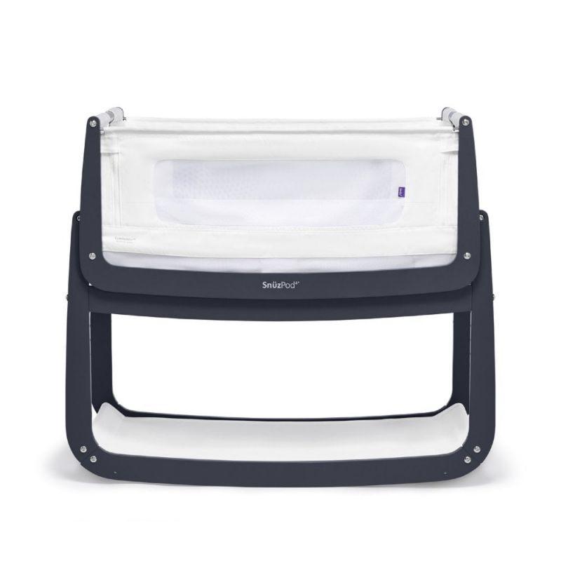 SnuzPod4 Bedside Crib with Mattress-Navy