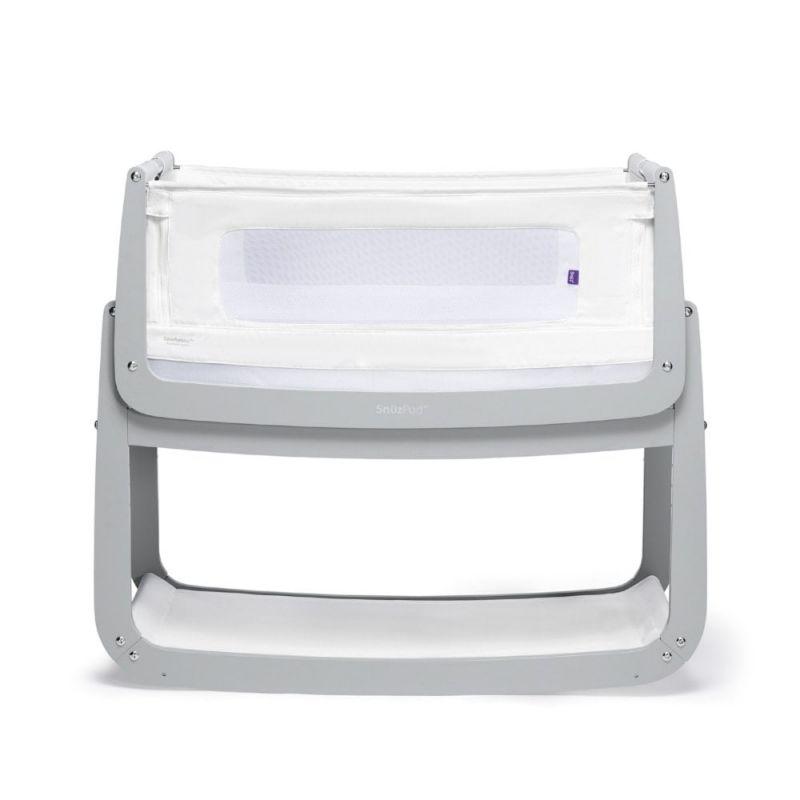 SnuzPod4 Bedside Crib with Mattress-Dove Grey