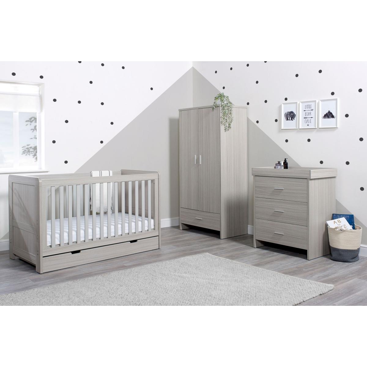 Ickle Bubba Pembrey 3 Piece Furniture Set with Under Drawer-Ash Grey