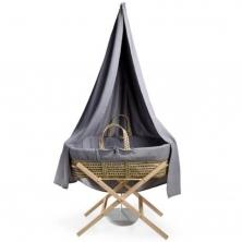 Clair De Lune Muslin 6 Piece Palm Moses Basket & Drape Starter Set-Grey (NEW)