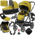BabyStyle Oyster 3 City Grey Finish Ultimate Capsule Travel System-Mustard