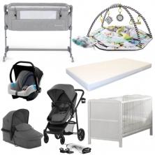 Kinderkraft Juli & Cot Bed Bundle-Grey (YBC)