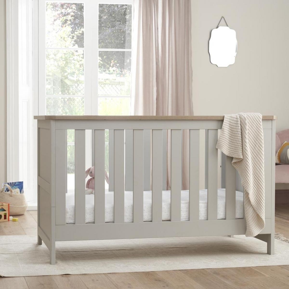 Tutti Bambini Verona Cot Bed-Dove Grey/Oak