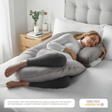 TM Home The THEODORE C Shaped Pregnancy Pillow-Grey
