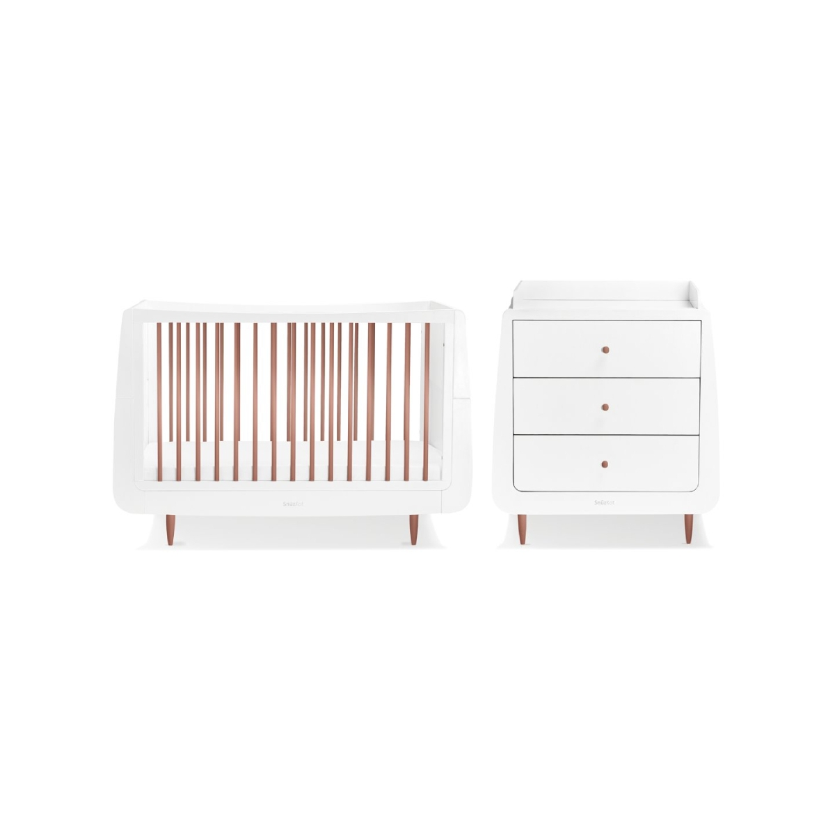 SnuzKot Skandi 2 Piece Nursery Furniture Set Rose Gold