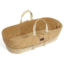 The Little Green Sheep Natural Quilted Moses Basket & Mattress-Honey