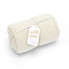 The Little Green Sheep Organic Knitted Cellular Baby Blanket-Linen